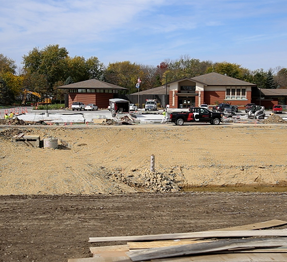 A photo of the Waukee Public Library under construction