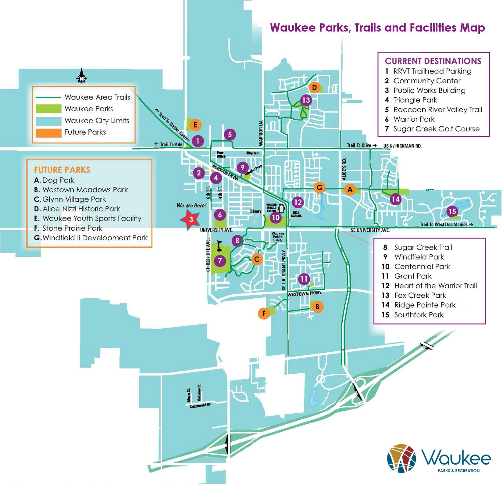 Waukee Trails, Parks & Facilities Map