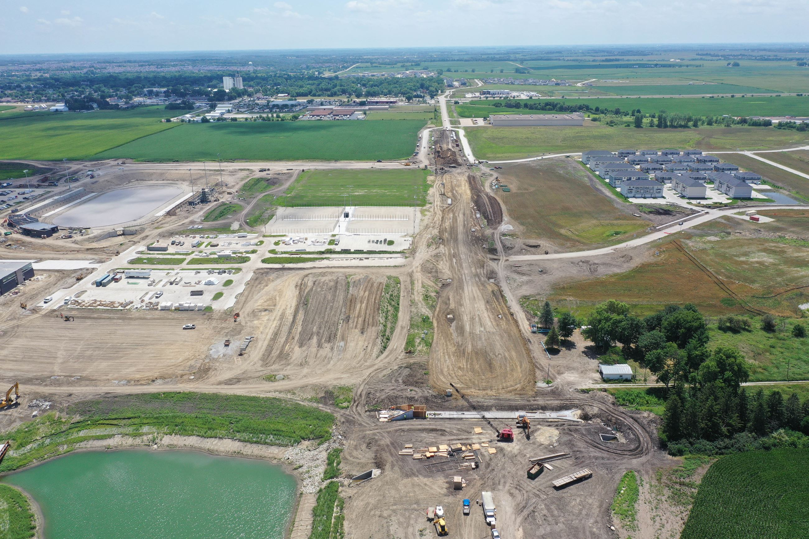 An aerial view of the 10th Street construction site near the new Northwest High School